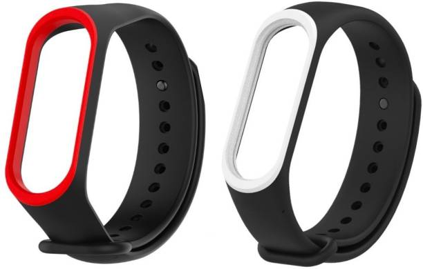 Epaal Dual Color Combo Pack Compatible with Mi Band 4 & Mi Band 3 - Black-redline & Black-whiteline Smart Band Strap Smart Band Strap
