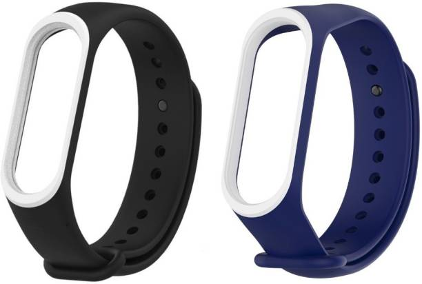 Epaal Dual Color Combo Pack Compatible with Mi Band 4 & Mi Band 3 - Black-whiteline & Blue-whiteline Smart Band Strap Smart Band Strap