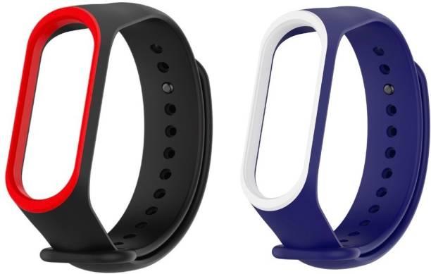 Epaal Dual Color Combo Pack for Mi Band 4 & Mi Band 3 - Black-redline & Blue-whiteline Smart Band Strap Smart Band Strap