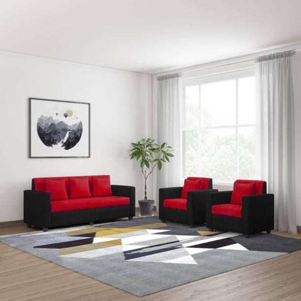 Bharat Lifestyle Tulip Fabric 3 + 1 + 1 Red & Black Sofa Set