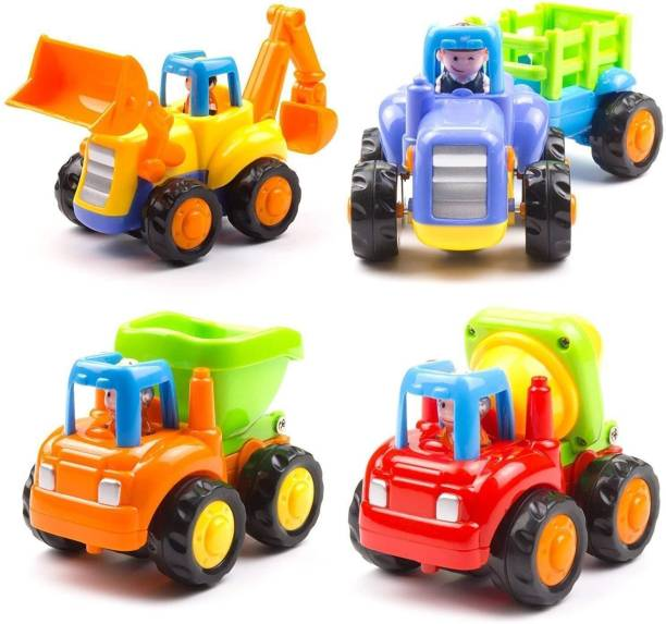 Lap Toys Unbreakable Automobile Car Toy Set( JCB , Cement Mixer, Dumper and a Tractor with Trolly)