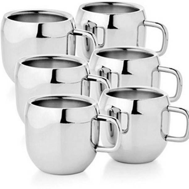 Sukot 6 PCs Double Wall Steel Tea Cup Stainless Steel
