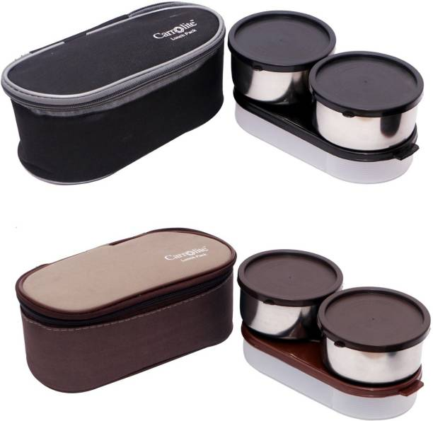 Carrolite Combo Midnight 3 in 1 Black-Grey+The Brown Box 3in1 Lunchbox 6 Containers Lunch Box