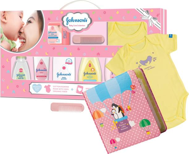 JOHNSON'S Baby Care Collection Gift Set with Organic Cotton Dress and Milestone Book (10 Pieces)