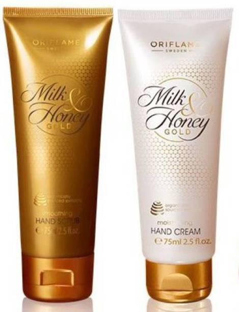 Oriflame Milk & Honey Gold Hand Care Combo kit (Hand Scrub, Hand Cream) (Set of 2)