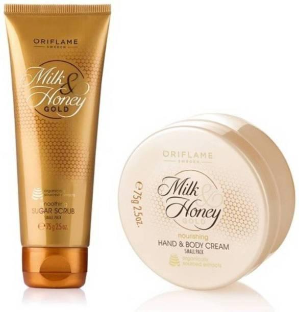 Oriflame Milk & Honey Gold Nourishing Hand & Body Cream + Smoothing Sugar Scrub Small Pack Combo
