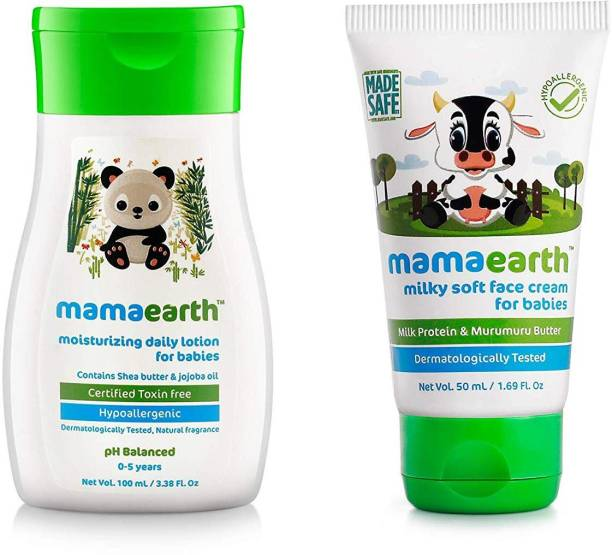 MamaEarth Moisturizing Daily Lotion for Babies + Milky Soft Natural Baby Face Cream for Babies