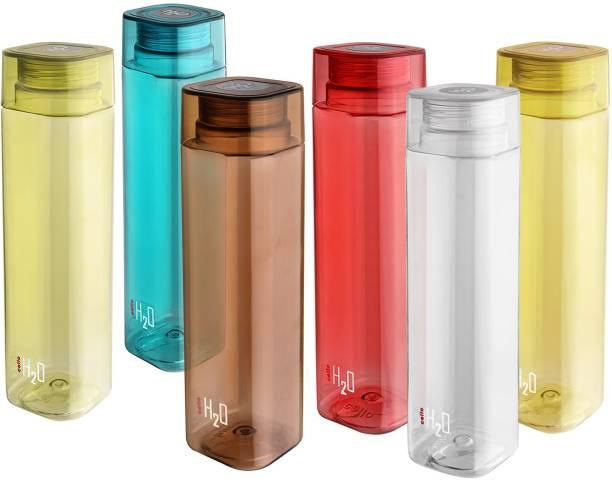 cello Sqauremate Plastic Water Bottle, 1-Liter , Set of 6, Multicolor 1000 ml Bottle