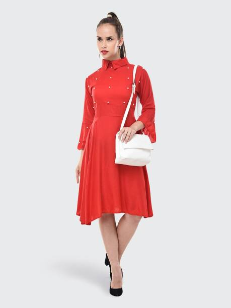 BuyNewTrend Women's High Low Red Dress