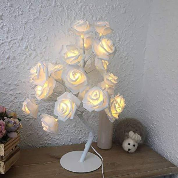 Lilone AtneP LED White Rose Tree Home Decoration 24 LED Lighting | Size 9x18 Inch | Festival Lamp Creative Gift Diwali Christmas Wedding Party Event - Warm White Table Lamp