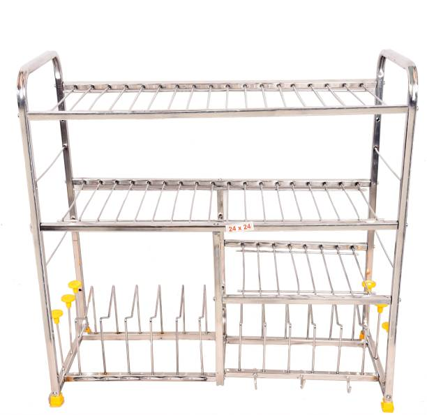 3cffbc572 LiMETRO Stainless Steel (24X24) Kitchen Dish Rack Plate Cutlery Stand   Kitchen  Utensils Rack