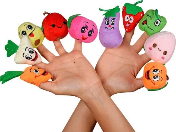 Ultra Fruit & Vegetable Puppet Soft toys for Baby Boy And Girl Birthday Gift (Set of 10) Finger Puppet Finger Puppets
