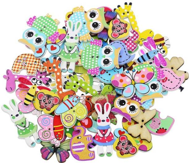 SYGA 50 Pieces Mixed Cartoon Animal 2 Holes Wooden Buttons Sewing Craft Scrapbooking DIY