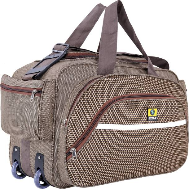 37ad5138332e SIBIA Unisex Polyester 40 litres Brown Waterproof Travel Duffle Bag With  Roller Wheels Travel Duffel Bag