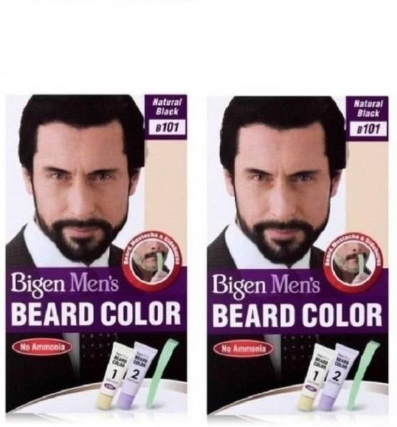 Bigen Men's Beard Color No. 101 Natural Black Combo ( pack of 2 ) , natural black