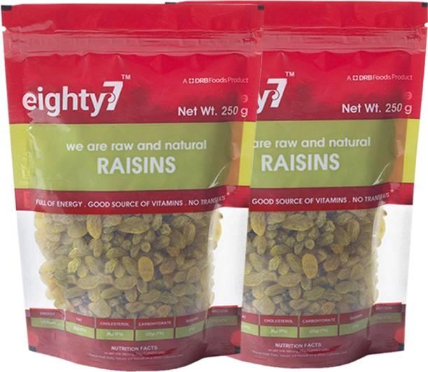 Eighty7 Raisins Kishmish (250g + 250g) - Pack of 2 Raisins