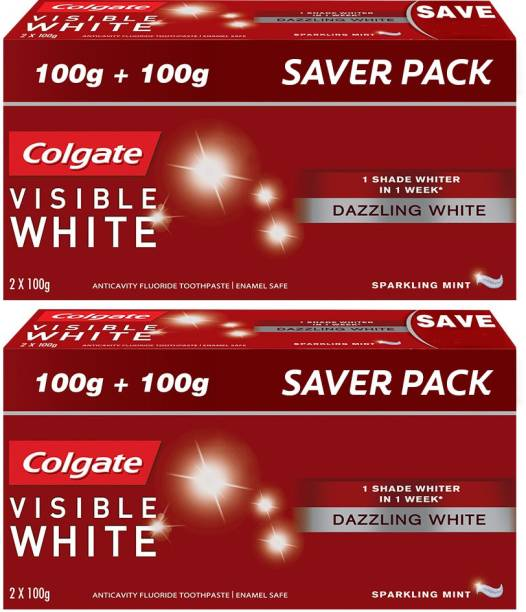 Colgate Visible White Sparkling Mint - 200gm Saver Pack (Pack of 2) Toothpaste