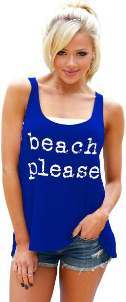 Boldgal Beach Wear Sleeveless Printed Women Blue Top