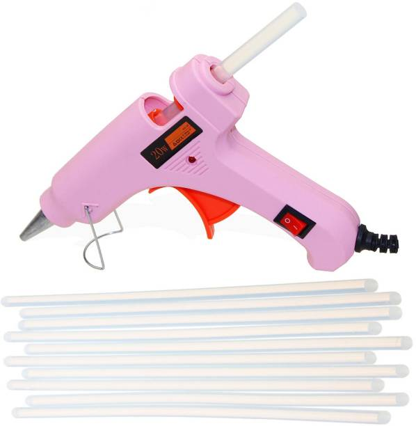 Glun PINK 20W 20WATT WITH 10 TRANSPARENT STICKS Standard Temperature Corded Glue Gun