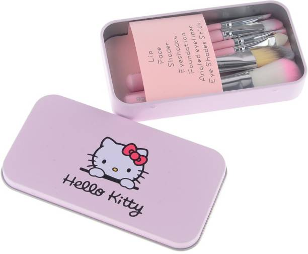 Hello Kitty High Quality MakeUp Brushes With Pink Tin Box
