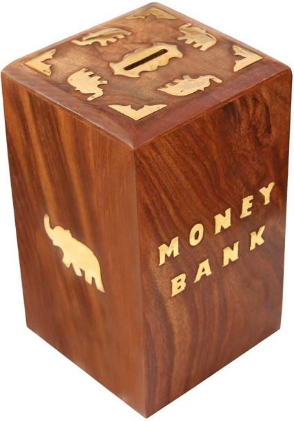 Sri Balajee Handcrafted Wooden Money Bank - Coin Saving Box - Piggy Bank - Gifts for Kids, Girls, Boys & Adults (1) Coin Bank