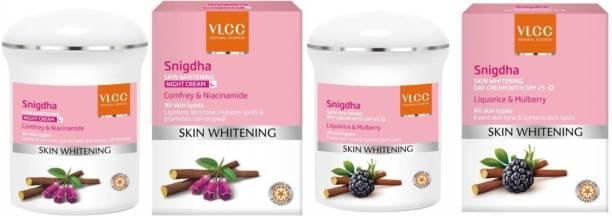 VLCC Snigdha Skin Whitening Day with SPF 25 liquorice & mulberry and Snigdha Skin Whitening Night Cream Comfrey & Niacinamide (50 g)