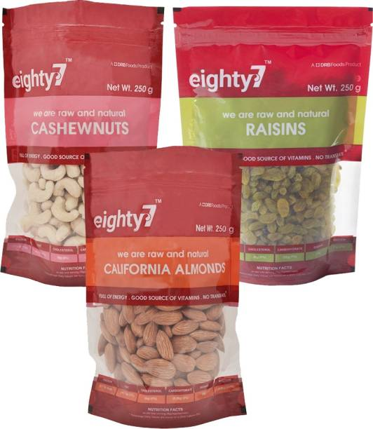 Eighty7 California Almonds(250g), Cashews(250g) and Raisins(250g) Combo