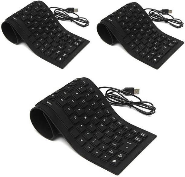 FU4 Set of 3 Premium Series Flexible Foldable Wired USB Laptop Keyboard (Black) Wired USB Laptop Keyboard