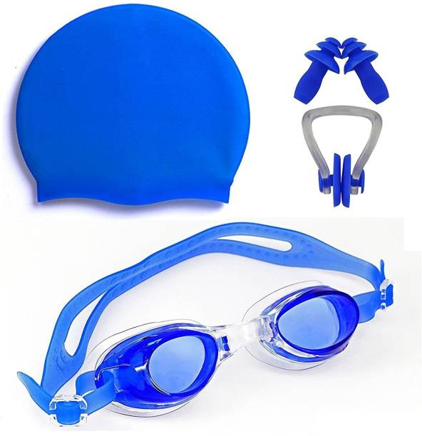 THE MORNING PLAY ™ HIGH Quality Goggles Silicone Cap 1 Nose Clip + 2 Ear Plugs BLUE Swimming Kit