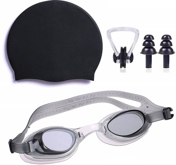 THE MORNING PLAY ™ HIGH Quality Goggles Silicone Cap 1 Nose Clip + 2 Ear Plugs BLACK Swimming Kit