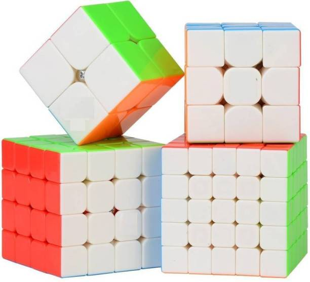 D ETERNAL cube combo set of 2x2 3x3 4x4 5X5 cube high speed stickerless magic cube Brainstorming Puzzle Cube combo 4 Game Toy