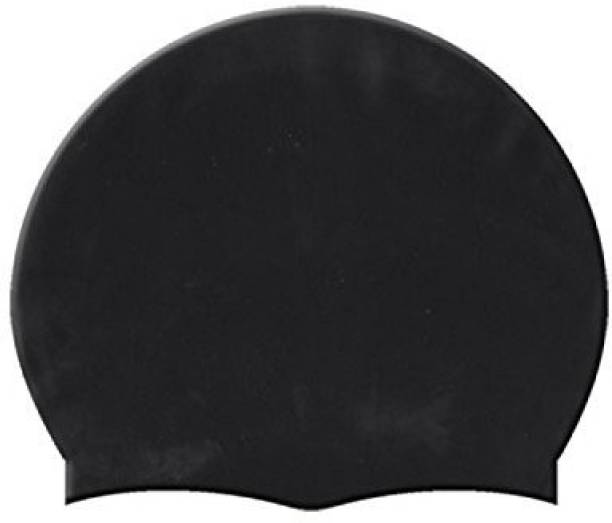 THE MORNING PLAY KIDS AND ADULT FREE SIZE High Quality Silicone Swimming BLACK Swimming Cap