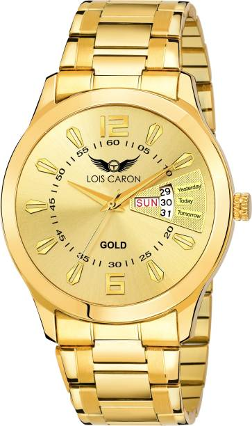 Lois Caron LCS-8404 GOLD PLATED DAY & DATE FUNCTIONING Watch - For Men