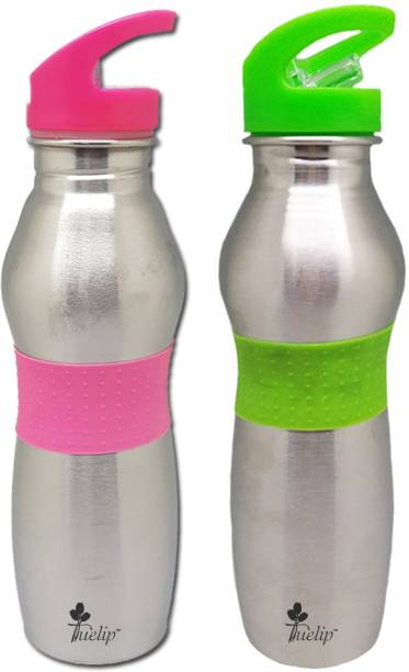 Tuelip Combo of Pink And Green Stainless Steel Vacuum Insulated Wide Mouth Water Bottle with Straw Cap - 750 ml