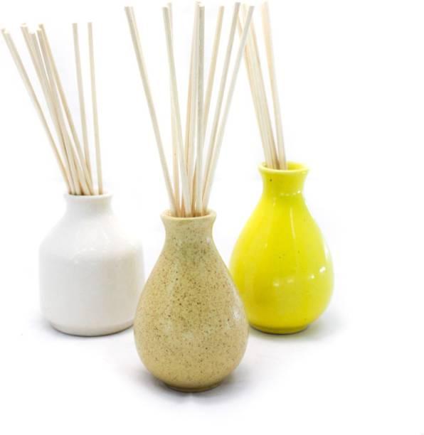 Bright Shop Ceramic Pot Reed Aroma Diffuser Multi Colour Pot Shape Design Air Freshner Oil Burner With Fragrance Aroma Oil Combo Pack Of 3 Diffuser