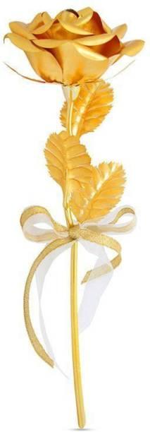 Manogyam Golden Rose 10 Gold Rose Artificial Flower