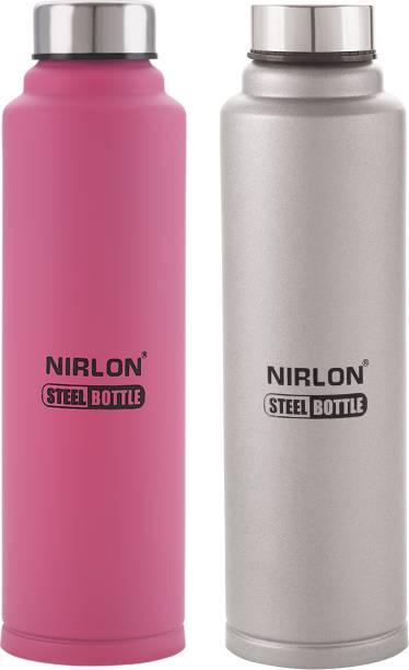 NIRLON Stainless Steel Freezer Water Bottle, Pink And Silver 1000 Bottle