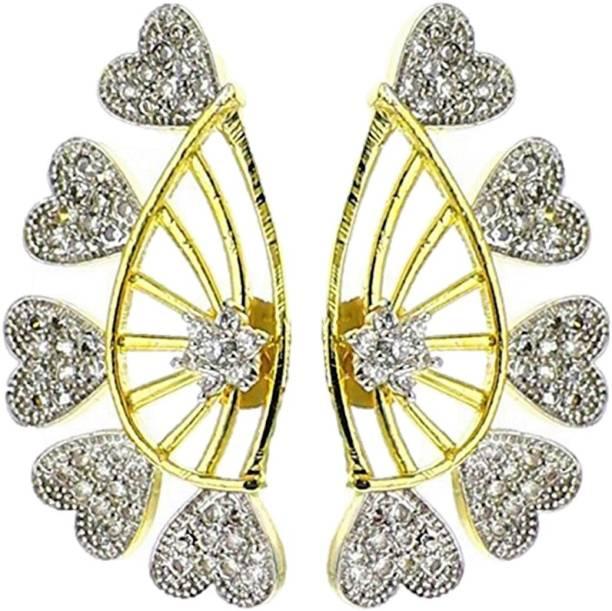 ed1b01ccb Aabhu Gold Plated American Diamond Ear Cuffs Earrings for Girls And Women  Zircon Alloy Cuff Earring