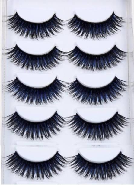 Ni Hao 5 PAIR Natural Thick Black&Blue Colored Long False Eyelashes Extension Eye Makeup