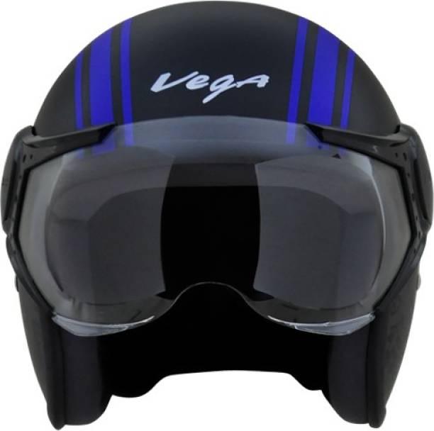 VEGA JET OLD SCHOOL DULL BLACK BLUE HELMET Motorbike Helmet