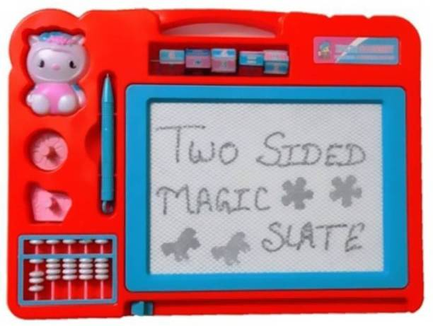 PS Aakriti Double Sided Magic Slate For Kids With Counting Beads, Pen And Stamps (Multicolor)