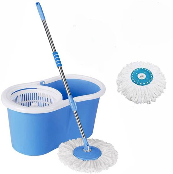 CREZON Magic Dry Bucket Mop - 360 Degree Self Spin Wringing With 2 Super Absorbers for