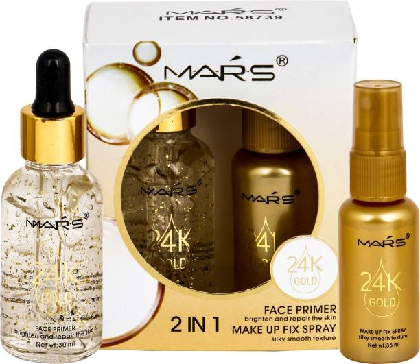 M.A.R.S 2 in 1 24 K Gold Primer and Makeup Setting Spray Primer  - 65 ml