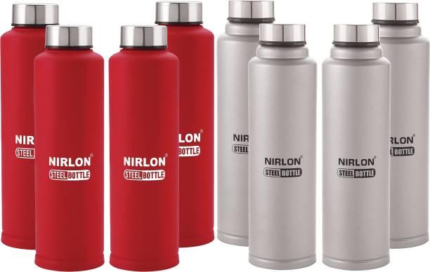 NIRLON Stainless Steel Fridge Water Bottle Set, 1 Litre, Set of 8, Red