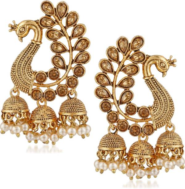 0d6cb78a562 Divastri Bridal Wedding Traditional Gold Pearl Peacock Kundan Jhumkas   Jhumka  Jhumki Earrings For Women