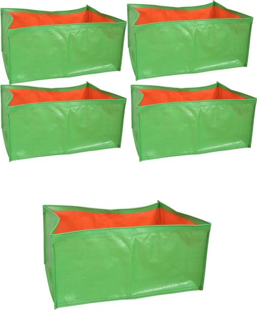 """voolex Terrace Gardening HDPE Rectangle Grow Bags for Vegetable Plants (18""""x12""""x8"""" Inches) - [46cms(L) X30cms(W) X20cms(H)] - Pack of 5 Grow Bag"""