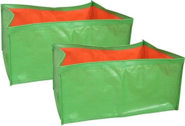 """voolex Terrace Gardening HDPE Square Shaped Grow Bags for Vegetable Plants (18""""x18""""x9"""" inches) - [45cms(L) X45cms(W) X22cms(H)] - Pack of 2 Grow Bag"""