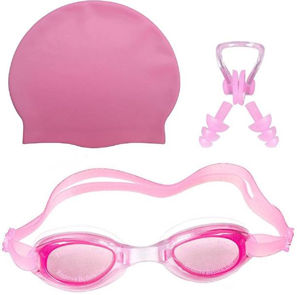MINISO /\/\ ||\||os :) HIGH Quality Goggles Silicone Cap 1 Nose Clip + 2 Ear Plugs PINK Swimming Kit Swimming Kit