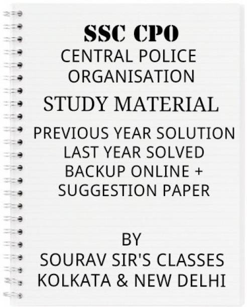 Study Material For Ssc Cpo With Previous Year Solution, Last Year Solved Paper, Backup Online& Suggestion Paper