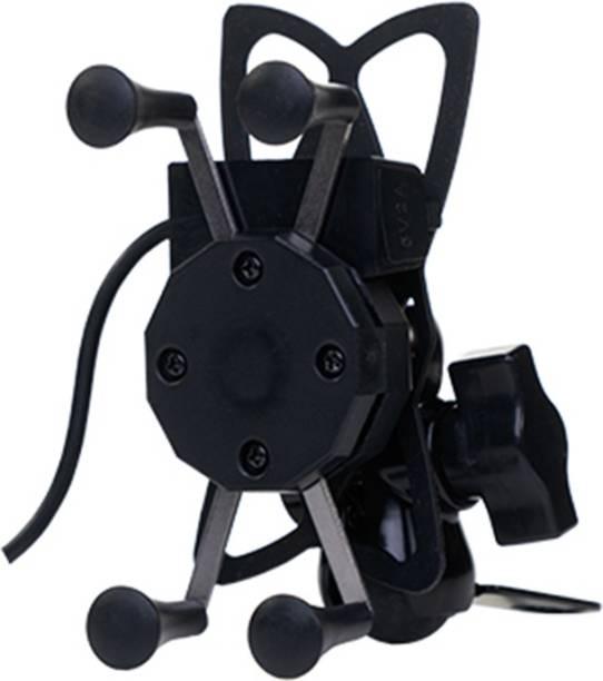 GrandPitstop X Grip 360 Degrees Mobile Holder with Adjustable Handlebar & Mirror Adjustable Mount for Motorcycle with USB Charging Point Bike Mobile Holder